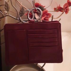Burgundy Leather Pouchee Handbag Organizer